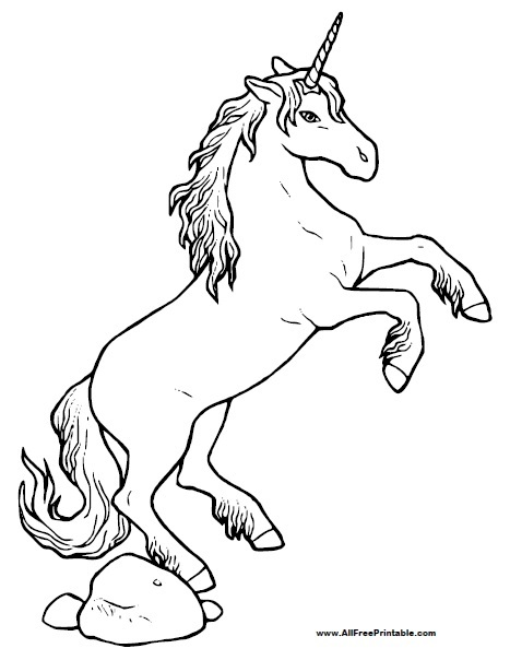 unicorn coloring page free printable allfreeprintable