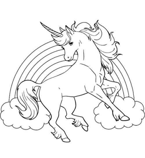 unicorn horse with rainbow coloring page malvorlagen fr