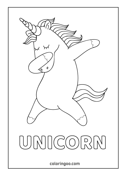 unicorn printable coloring page pdf