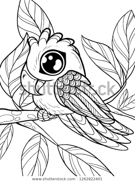 vector coloring page children cute animals stock vector