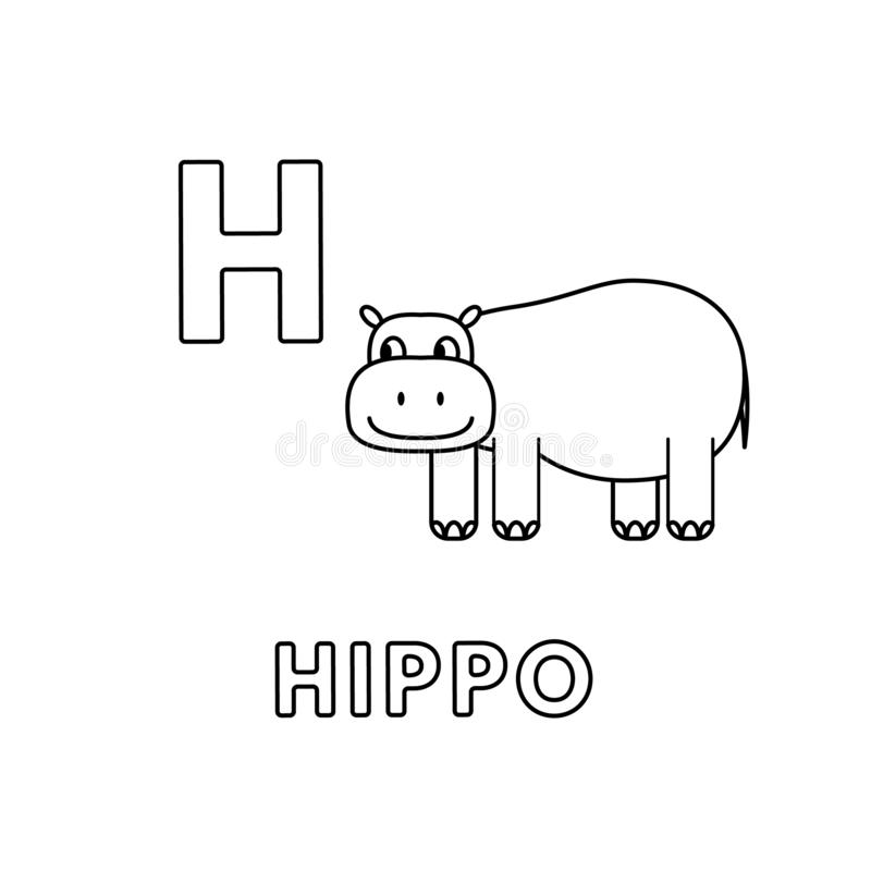 vector cute cartoon animals alphabet hippo coloring pages