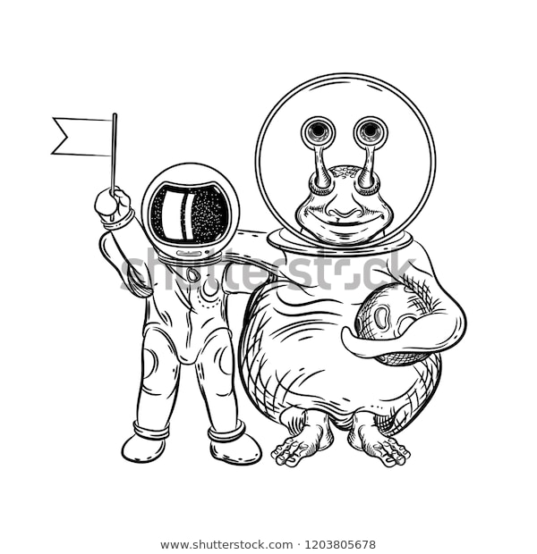 vector image astronaut alien coloring pages stock vector