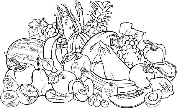 vegetable basket coloring pages at getdrawings free