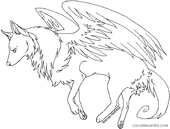 winged wolf coloring pages coloring4free coloring4free