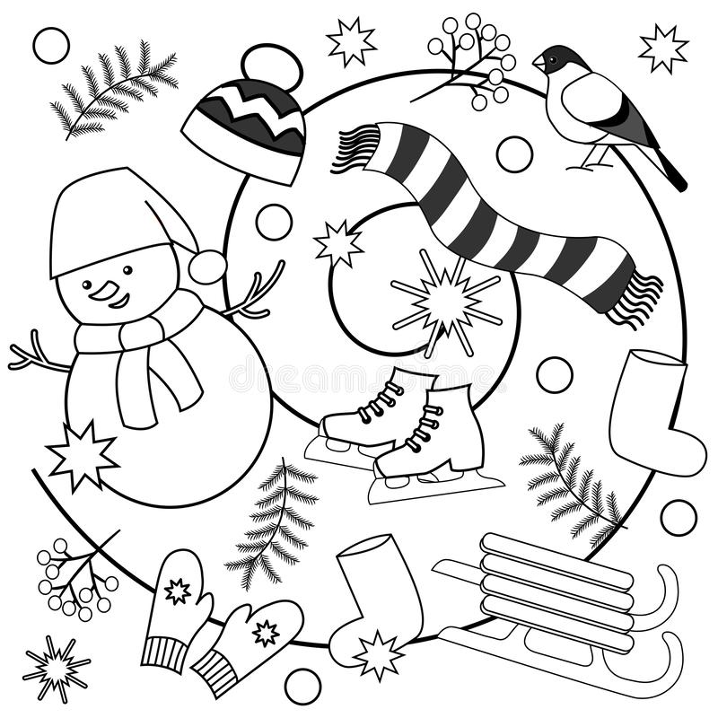 winter coloring pages for kids and adults stock illustration