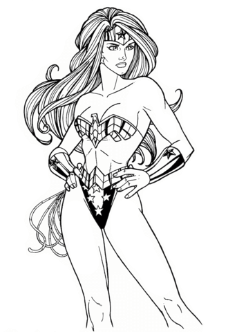 wonder woman from dc comics coloring page free printable