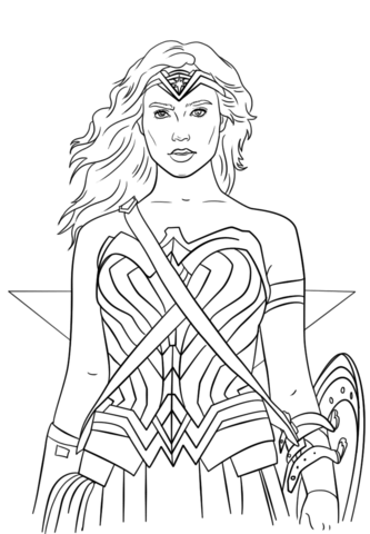 wonder woman portrait coloring page free printable