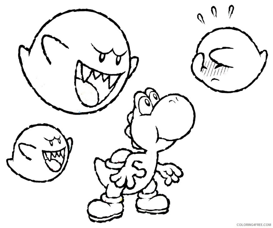 yoshi coloring pages and boo boo coloring4free