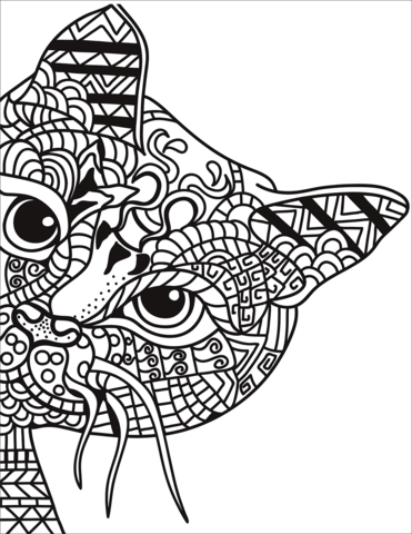 zentangle cat coloring page free printable coloring pages