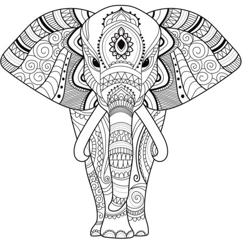 zentangle elephant omalovnka free printable coloring pages