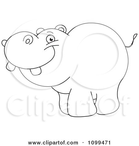 1099471 clipart happy outlined cute ba hippo royalty