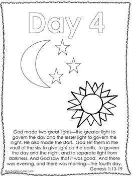 7 days of creation coloring worksheets preschool