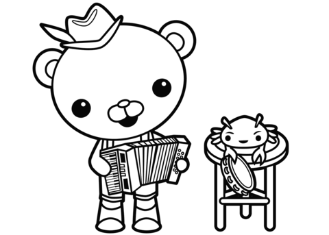 captain barnacles old time band coloring page free