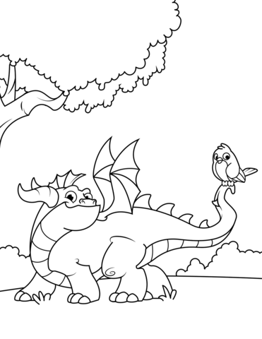 cute dragon with bird on his tail coloring page free