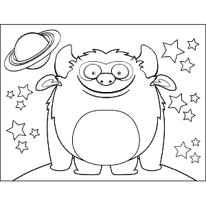 grinning space monster coloring page