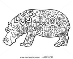 hippo clipart black and white google search ba