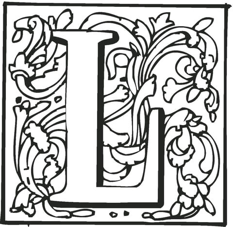letter l with ornament coloring page free printable