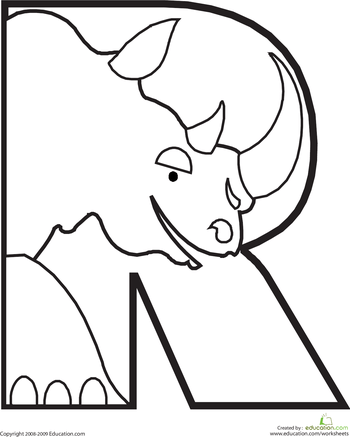 letter r coloring page alphabet coloring pages animal
