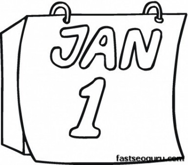 new year on the calendar free printable coloring pages