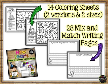 new years 2019 coloring pages and writing sheets free