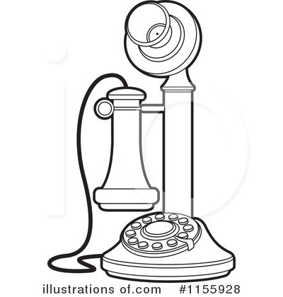 old fashion telephone clip art outline sketch coloring page