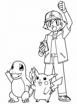 pokemon ash pikachu and charmander coloring pages