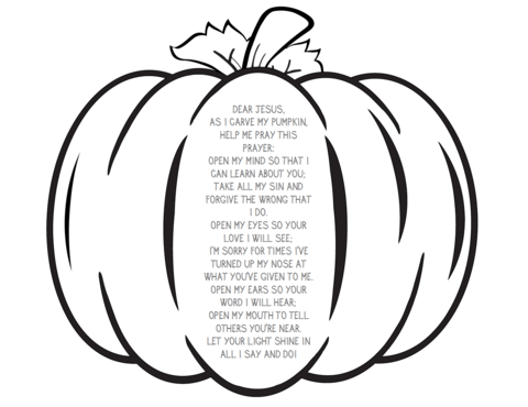 pumpkin prayer coloring page sunday school crafts
