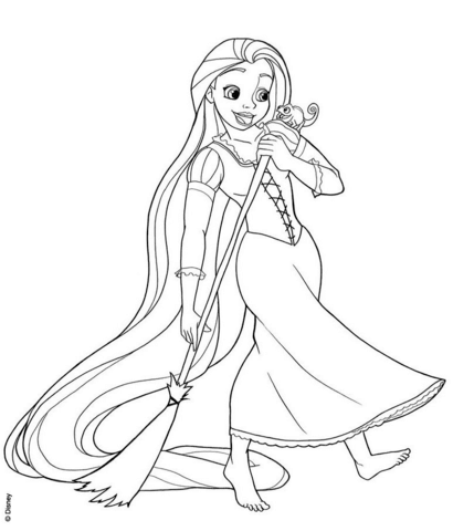 rapunzel sweeping coloring page free printable coloring