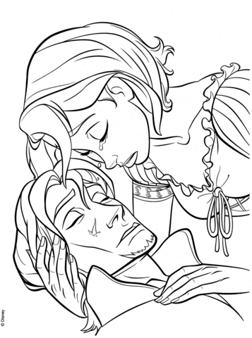 rapunzels tear heals flynn coloring page free printable