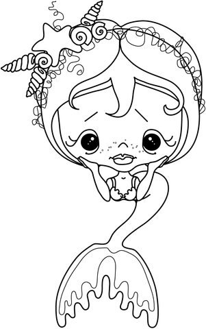 sad little girl mermaid coloring page free printable