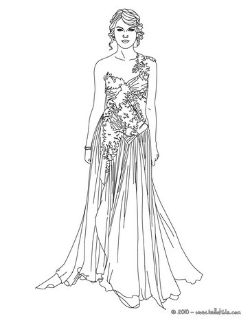 taylor swift luxurious dress coloring pages hellokids