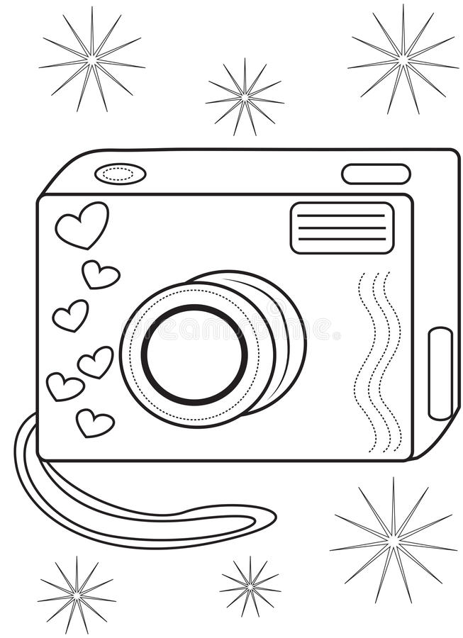 camera coloring page stock illustration illustration of