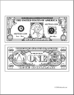 clip art dollar bill outline coloring page abcteach