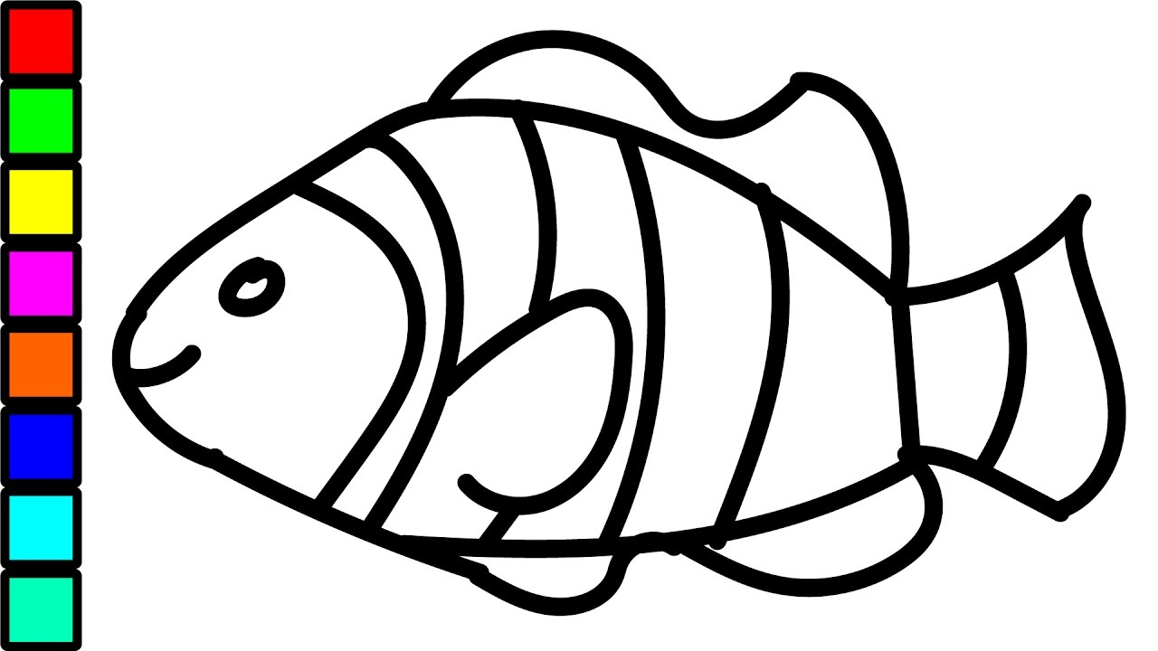 clown fish colouring videos for kids coloring pages for