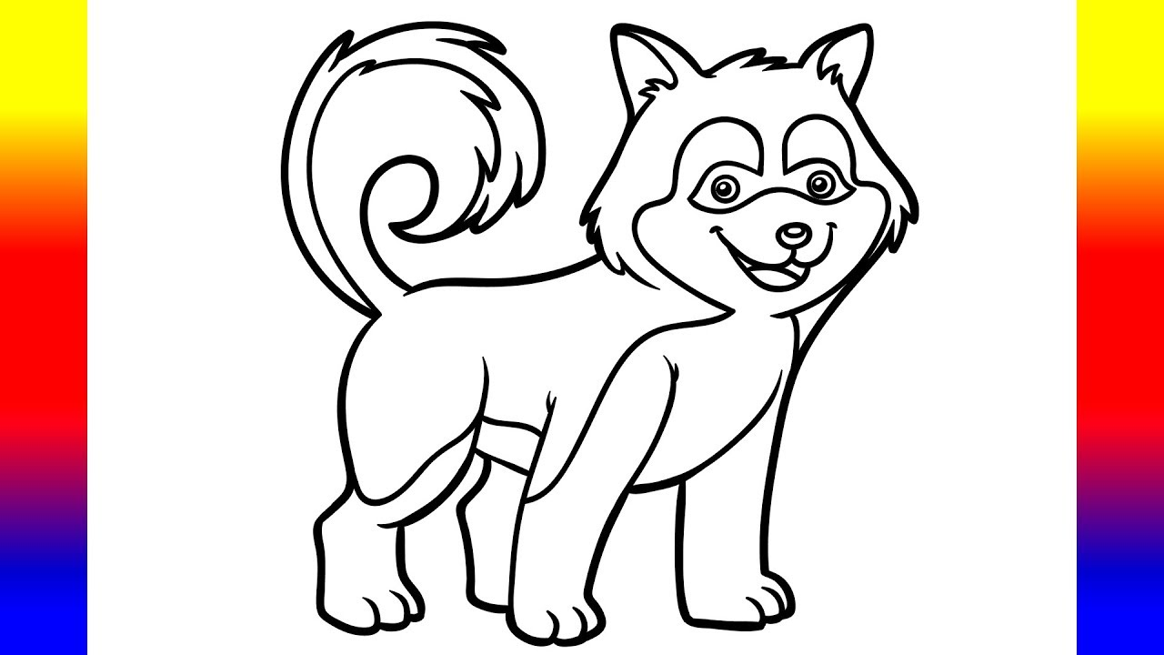 coloring for kids with husky dog puppy coloring pages