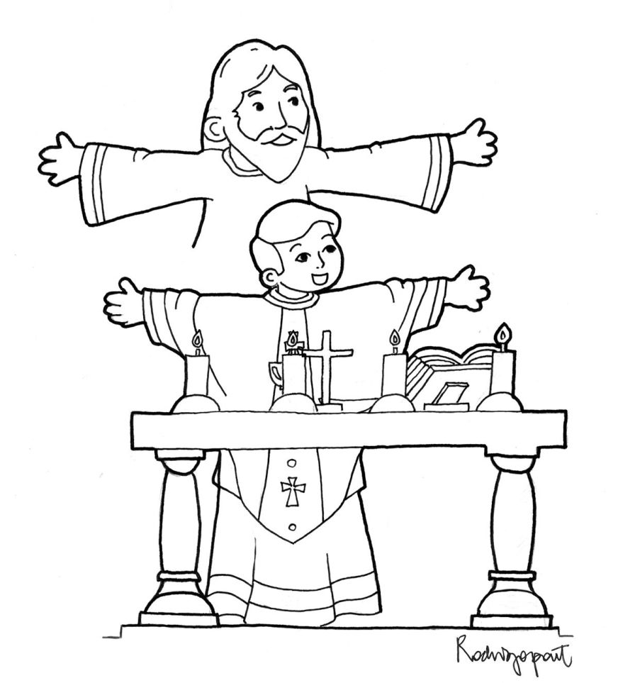 coloring page of priest celebrating mass catholic kids