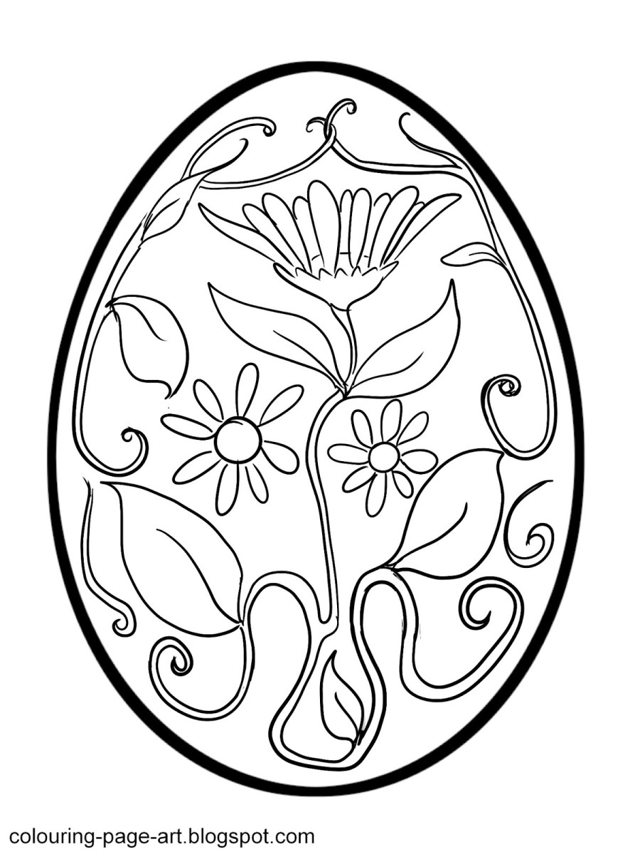 colouring page art flower power easter egg colouring page