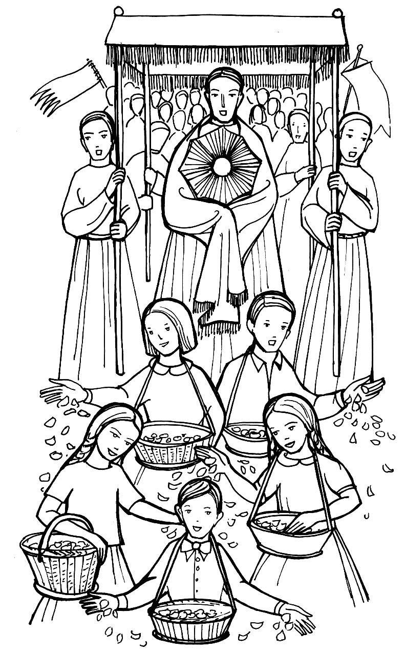 corpus christi procession catholic coloring page