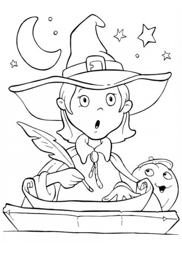 cute little witch is surprised in funschool halloween