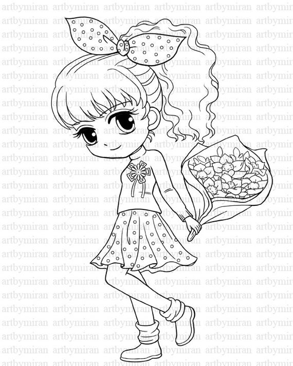 digi stamp isabels bouquet pretty girl coloring page