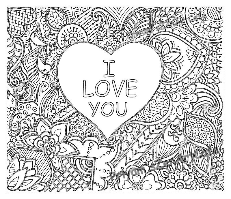 easy coloring page romantic gift i love you art love etsy