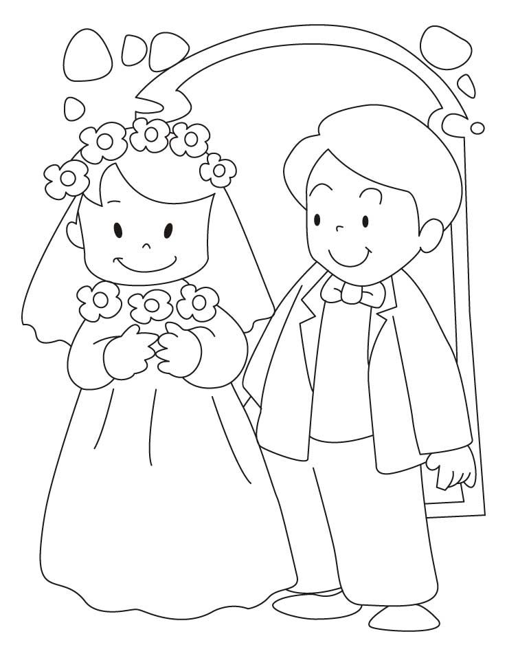 free bride and groom printable coloring page bride and