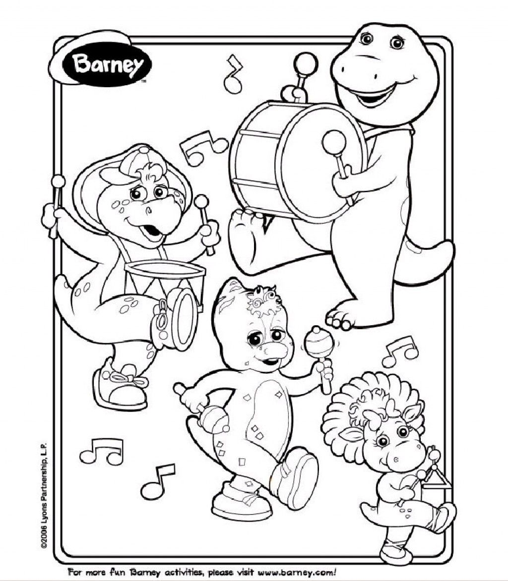 free printable barney coloring pages barney birthday