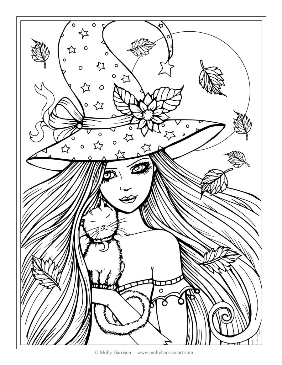 free witch and cat coloring page halloween coloring pages