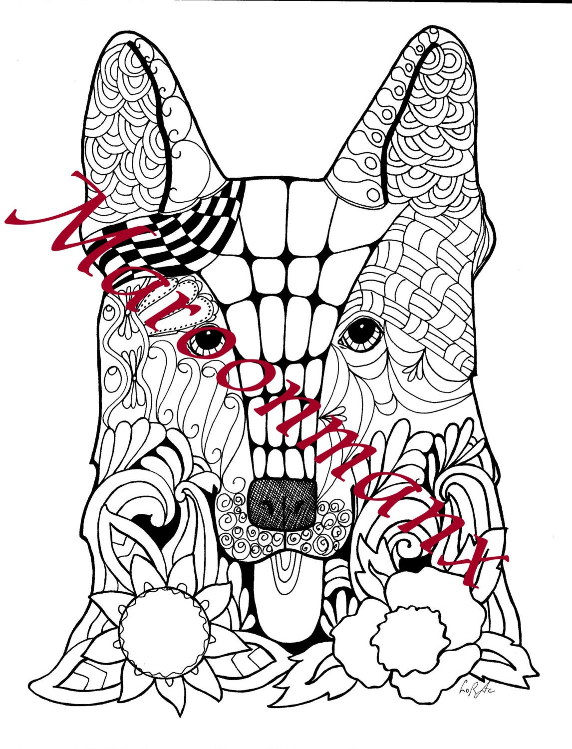 german shepherd unique adult coloring