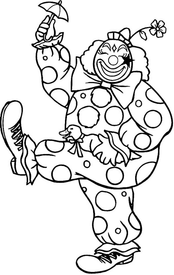 happy clown walking with little umbrella coloring page