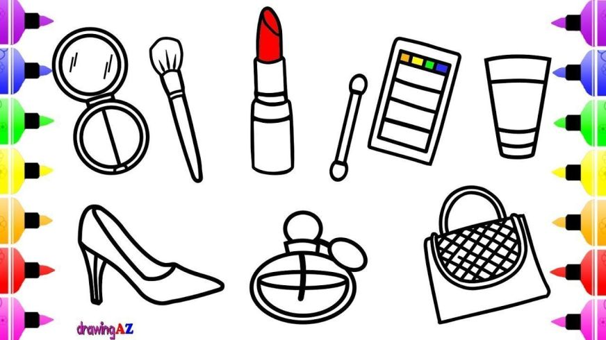 how to draw lipstick and makeup tools for girls coloring