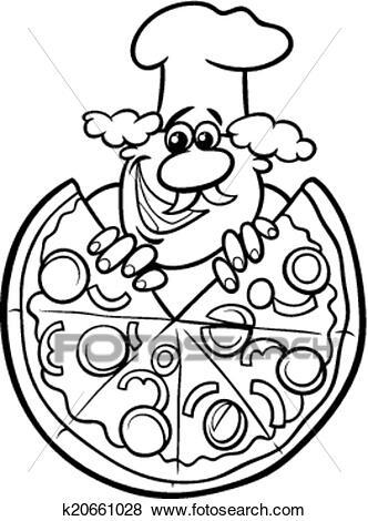 italian pizza cartoon coloring page clip art k20661028