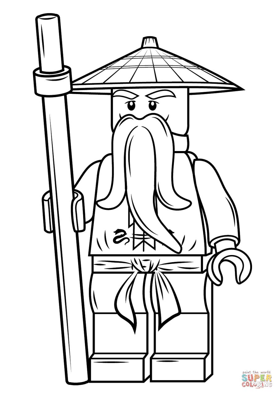 lego ninjago sensei wu coloring page free printable