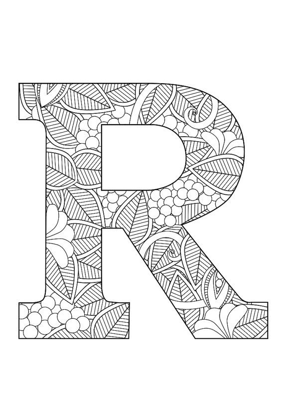 letter r floral doodle art alphabet coloring pages